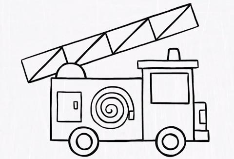 رسم وتلوين سيارة اطفاء للاطفال سيارة اطفاء مفرغة للتلوين الإبداع الفضائي