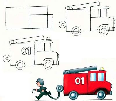 رسم وتلوين سيارة اطفاء للاطفال سيارة اطفاء مفرغة للتلوين