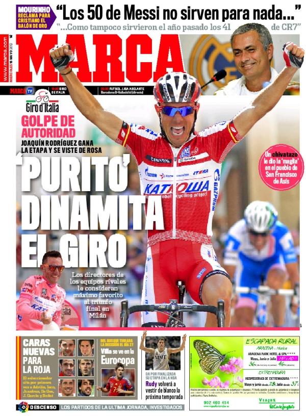 غلاف صحيفة الماركا اليوم 16 - 5 - 2012 , غلاف صحيفة الماركا الاربعاء 16/5/2012