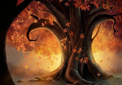 رسومات فصل الخريف ملونة , مناظر مرسومة للخريف