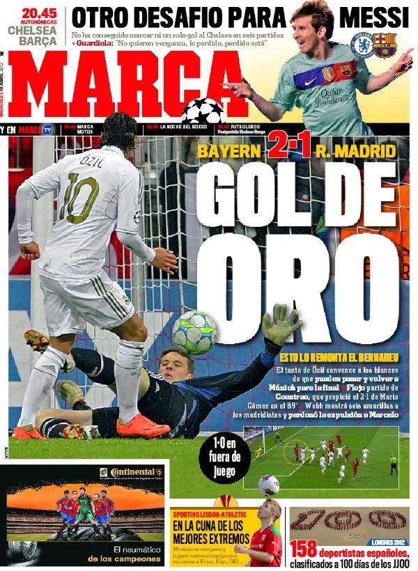 غلاف الماركا ليوم الاربعاء 18/4/2012 , ريال مدريد 2012