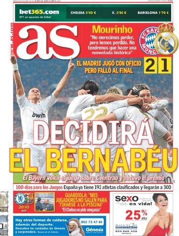 غلاف الاس ليوم الاربعاء 18/4/2012 , ريال مدريد 2012