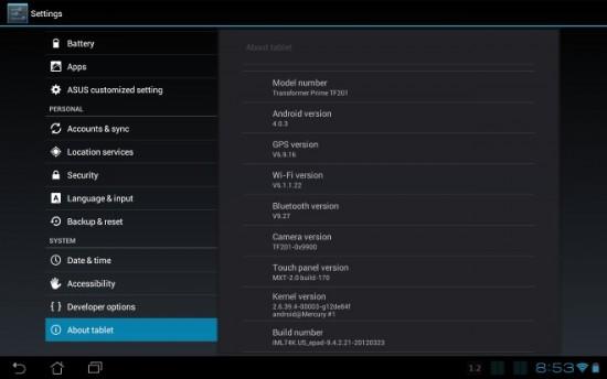 تحديث ASUS Transformer Prime اندرويد 4.0.3