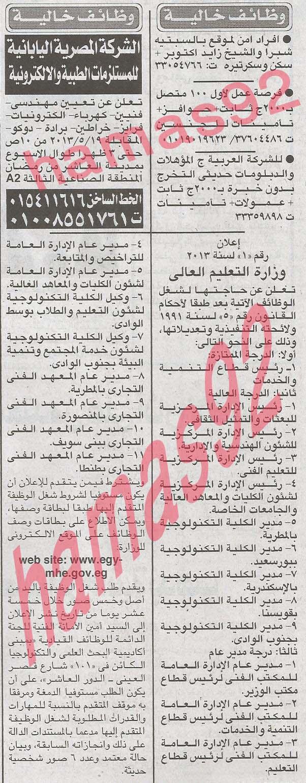 اعلانات الوظائف فى جريدة الاخبار اليوم الاثنين 20-5-2013
