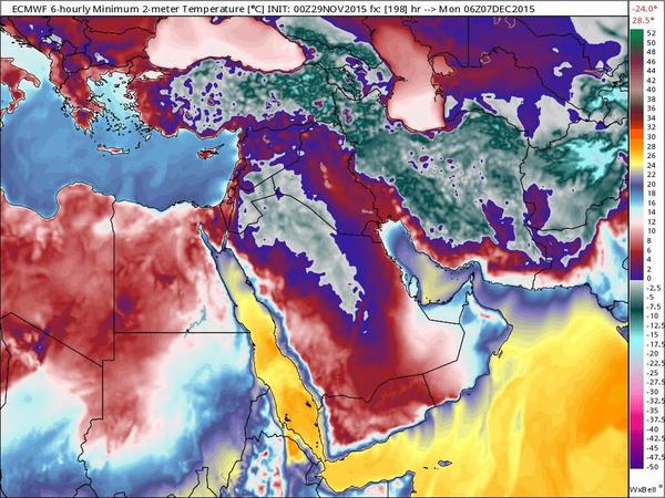حالة الطقس في المملكة العربية السعودية بتاريخ يوم الاثنين 18-2-1437