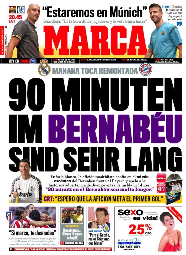 غلاف صحيفة الماركا 24 - 4 - 2012