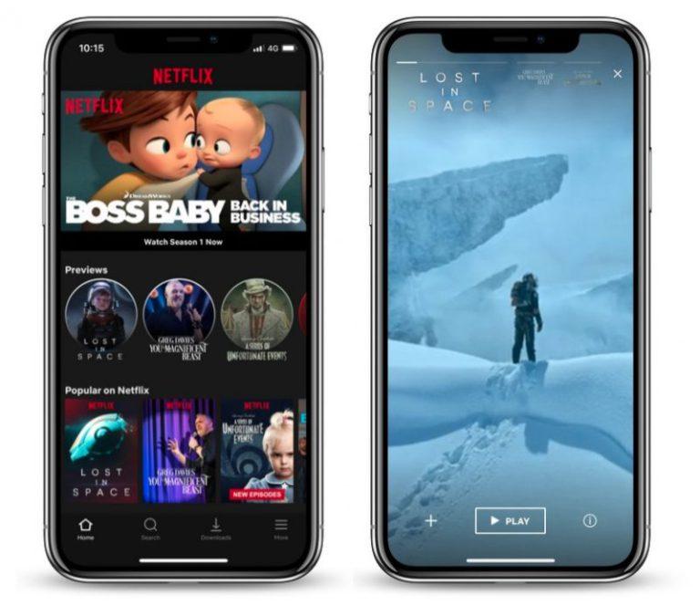 تطبيق Netflix على iOS قامت بتقديم معاينة سريعة التحميل والعرض