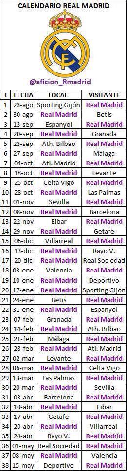 تحديد مباريات ريال مدريد الدوري الأسباني الجدول كامل 2016