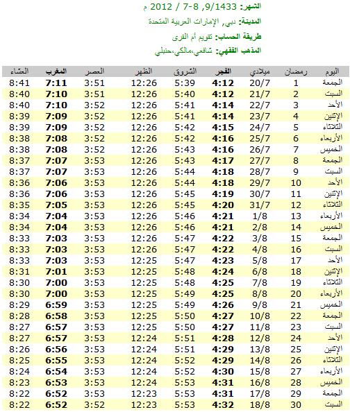 امساكية رمضان 2012 - 1433 في الامارات