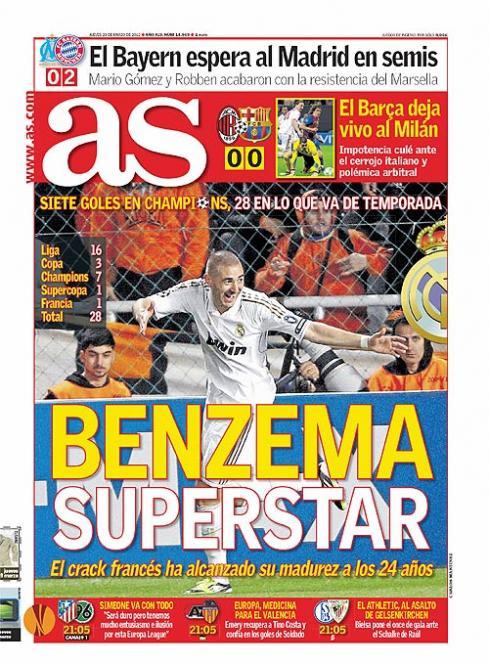 غلاف صحيفة الآس 29 - 3 - 2012 بنزيما نحم النجوم