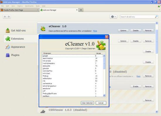 ����� eCleaner ������ ����� ��� Firefox , ������ ���� ���� 2013