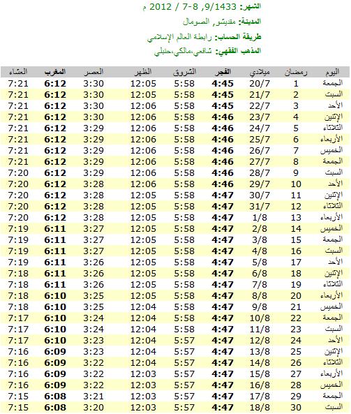 امساكية رمضان 2012 - 1433 في الصومال