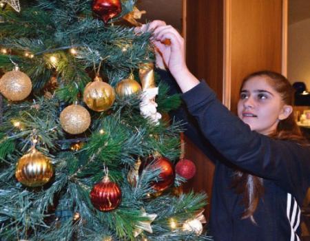 يوم ميلاد السيد المسيح شجرة عيد الميلادة عليها نجمة وقلوب