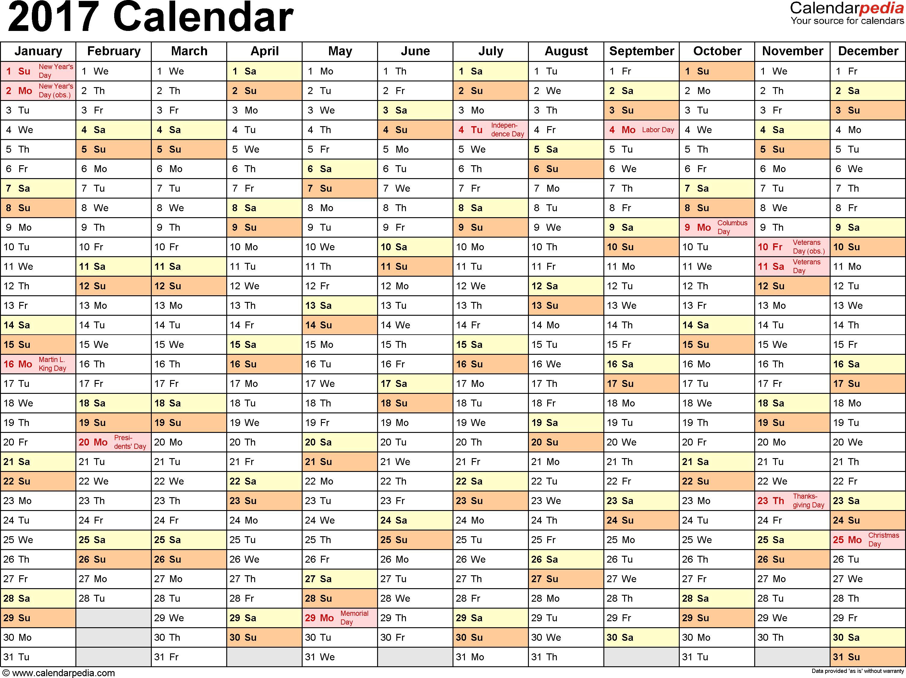 2017 excel calendar