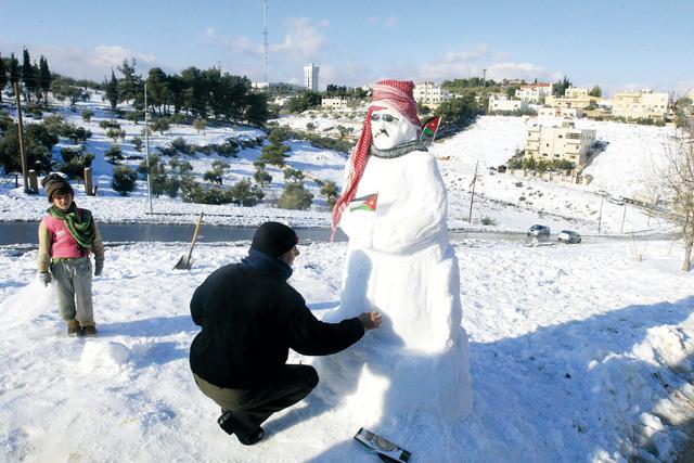 ثلوج كثيفة على الأردن نهاية شهر ديسمبر 2014 و بداية يناير عام 2015