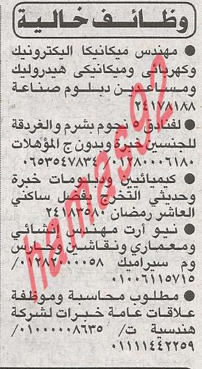وظائف خالية جريدة الاهرام فى مصر الاثنين 25/3/2013