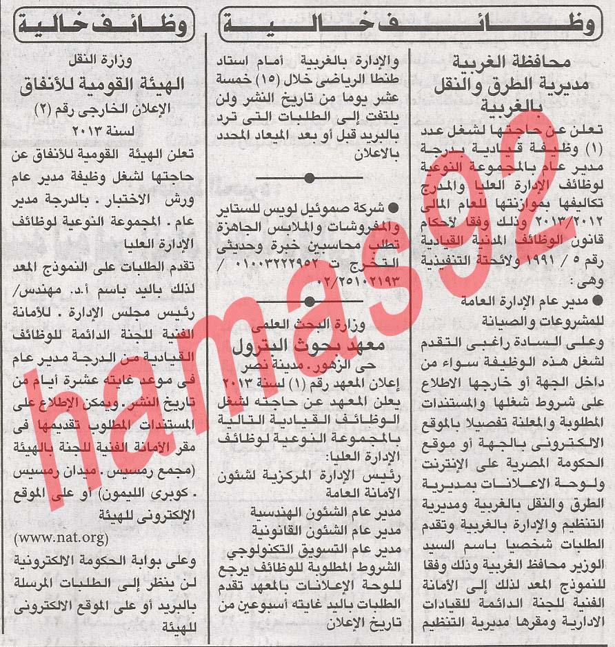 وظائف خالية جريدة الاهرام فى مصر الثلاثاء 2/4/2013