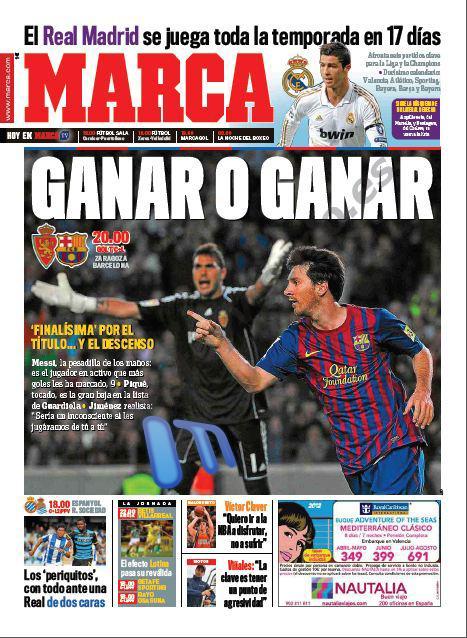 غلاف صحيفة الماركا 7 / 4 / 2012 - الليغا ستحسم خلال 17 يوم فقط