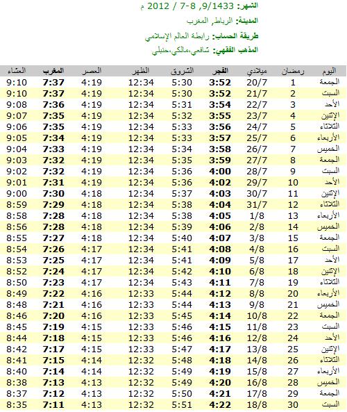 امساكية رمضان 2012 - 1433 في المغرب