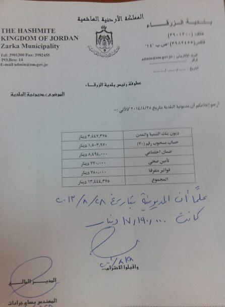 أخبار الزرقاء 29-8-2014 بلدية الزرقاء تسدد 4 ملايين من الديون المتراكمة
