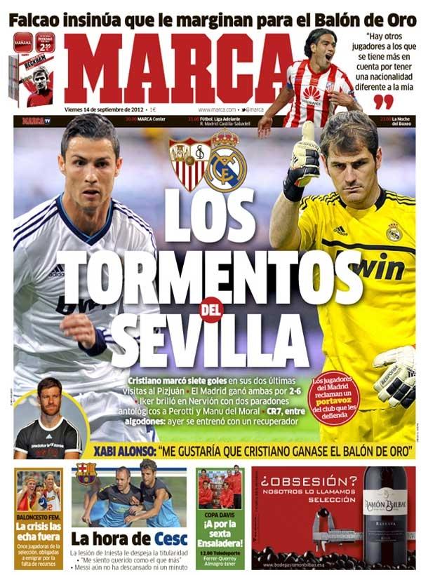 """غلاف صحيفة الماركا الأسبانية اليوم الجمعة 14/9/2012 فالكاو يلمح إلى أنه تعرض ل """"التهميش"""" في سباق الك"""