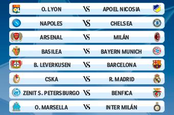 نتائج قرعة الدور 16 من دوري أبطال أوروبا 2011-2012