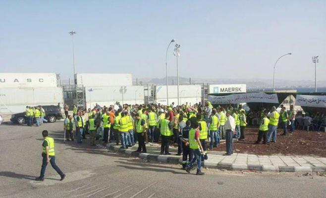 إضراب عمال موظفي شركة حاويات ميناء العقبة الخميس 11 يونيو 2015