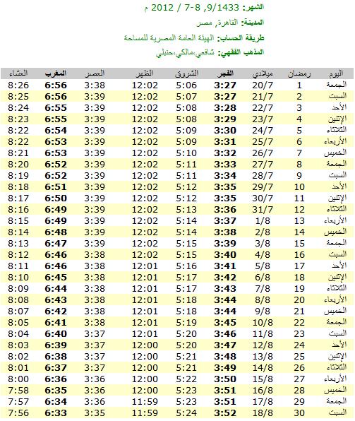 امساكية رمضان 2012 - 1433 في مصر