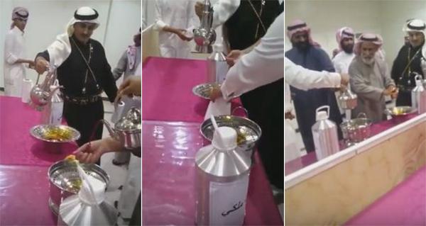 شاهد فيديو مواطنون في السعودية يغسلون أيديهم دهن العود الملكي
