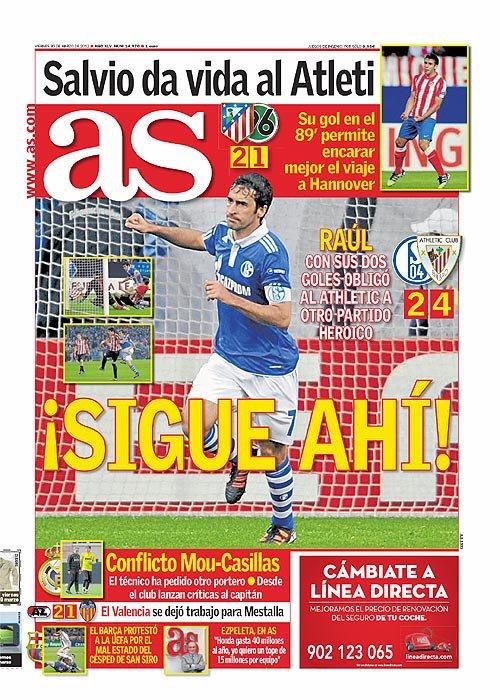 غلاف صحيفة الاس ليوم الجمعة 30-3-2012 - راؤول كونزاليس