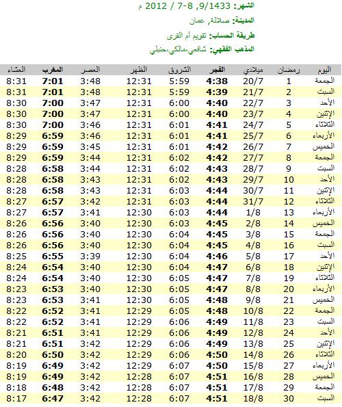 امساكية رمضان 2012 - 1433 في عمان