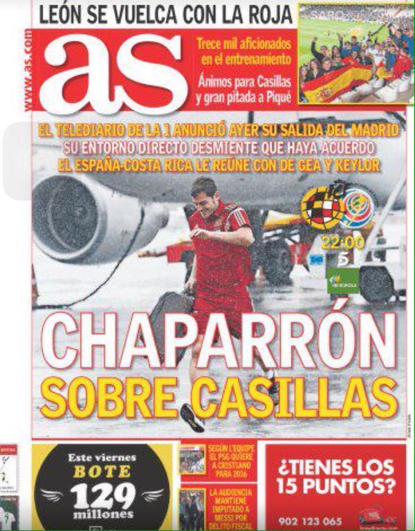 نشرة اخبار التلفزيون الاسباني اعلنت رحيل كاسياس