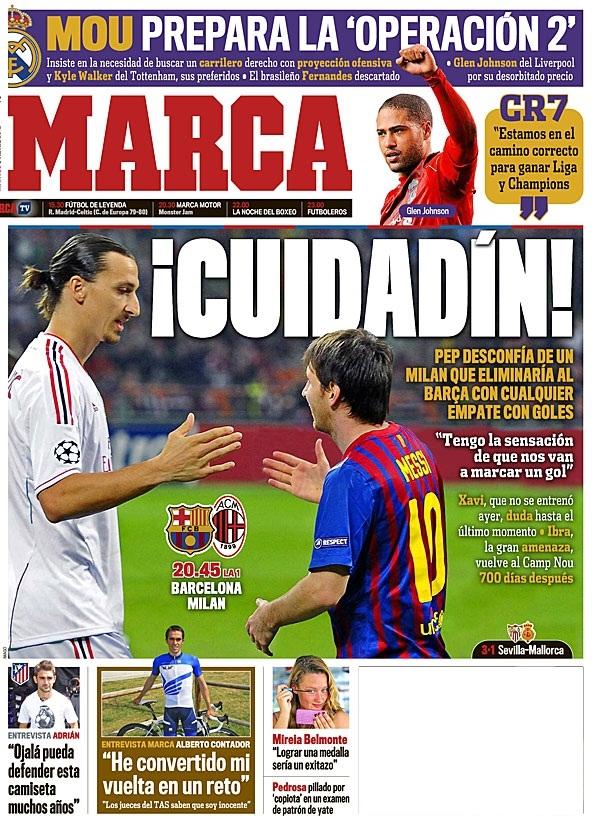 غلاف صحيفة الماركا 3 / 4 / 2012