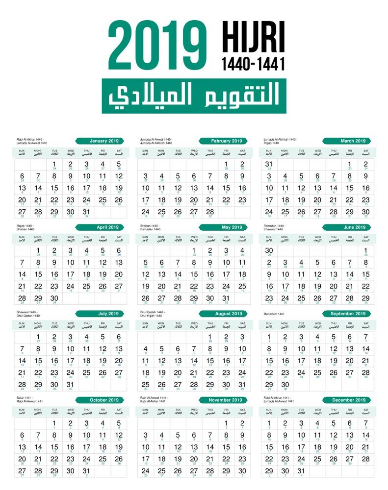 التقويم الميلادي 2019 والاجازات الرسمية لمصر في عام 2019