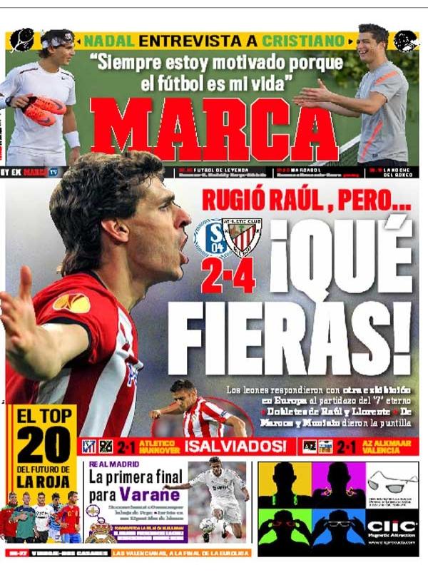 غلاف صحيفة الماركا ليوم الجمعة 30 -3-2012 - فوز اتليتك بيلباو الاسباني على شالكة الالماني