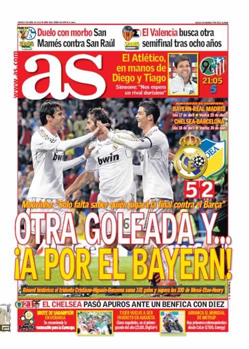 غلاف صحيفة الاس 5 / 4 / 2012 ثلاثي مدريد الهجومي افضل ثلاثي في تاريخ كرة القدم