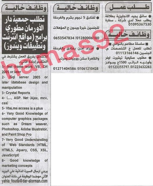 اعلانات الوظائف فى جريدة الاهرام الصادرة يوم الاثنين 29-4-2013