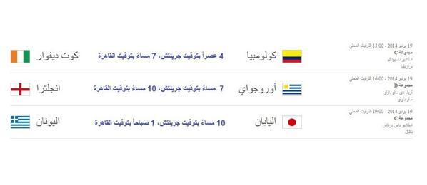 موعد وتوقيت مباريات اليوم الخميس 19-6-2014 فى كاس العالم 2014